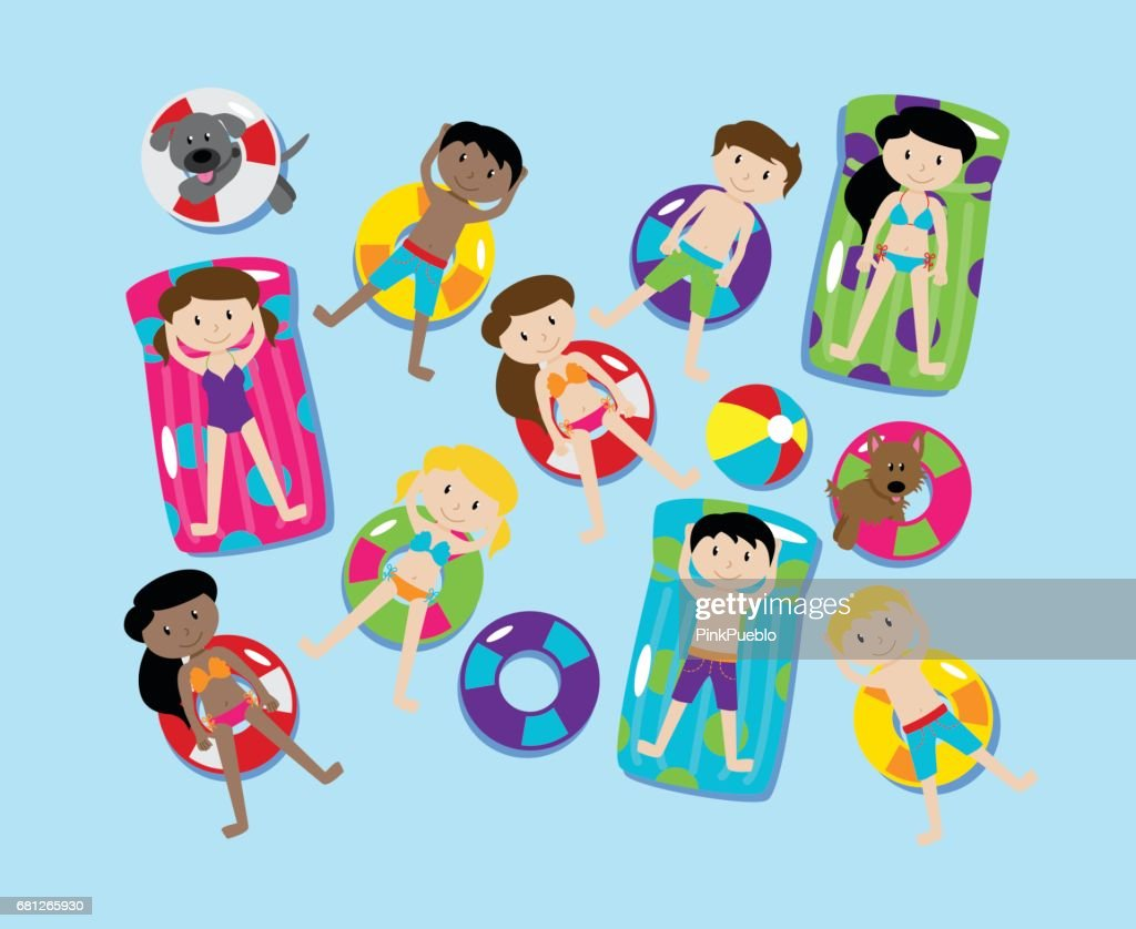 Pool Party or Lake Party Vector Set, Including Children and Dogs Swimming and Floating
