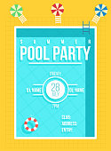 Pool party poster. Summer party invitation, flyer concept