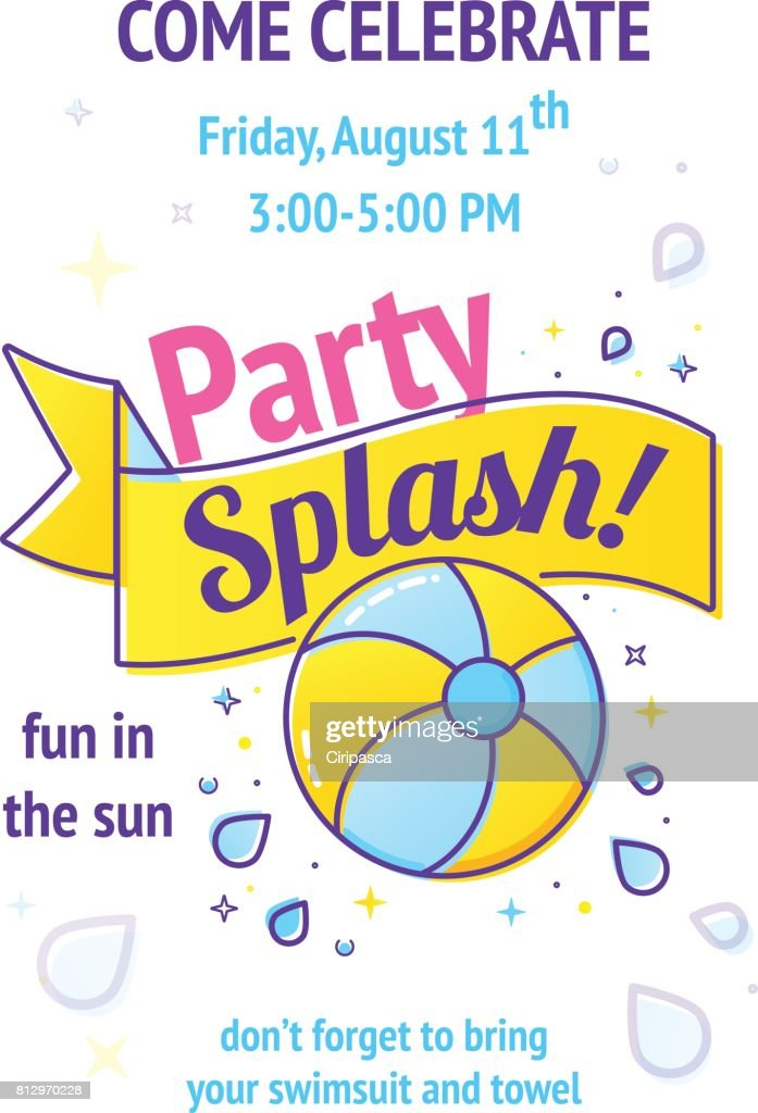 pool splash vector. Brilliant Pool Pool Party Poster With Inflatable Ball And Splash In Swim Pool Water   Vector Art Throughout Splash
