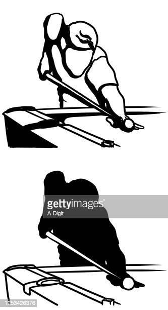 pool player final shot silhouette - pool ball stock illustrations