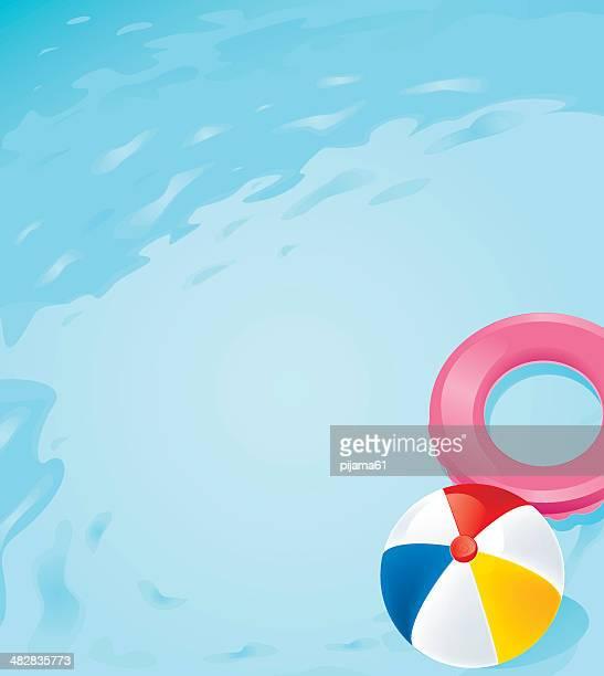 ilustraciones, imágenes clip art, dibujos animados e iconos de stock de la piscina - pelota de playa