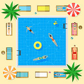 Pool with Blue Water Summer Vacation Concept. Vector