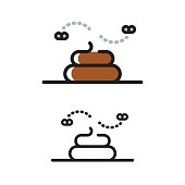 Poop line icon