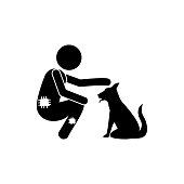 poor man and dog icon. Element of poor man illustration. Premium quality graphic design icon. Signs and symbols collection icon for websites, web design, mobile app