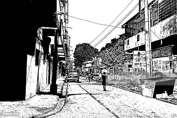 poor neighborhood. chorrillo district, panama city, panama. - panama city stock illustrations, clip art, cartoons, & icons