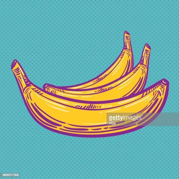 pop art banana - vector illustration - banana stock illustrations, clip art, cartoons, & icons