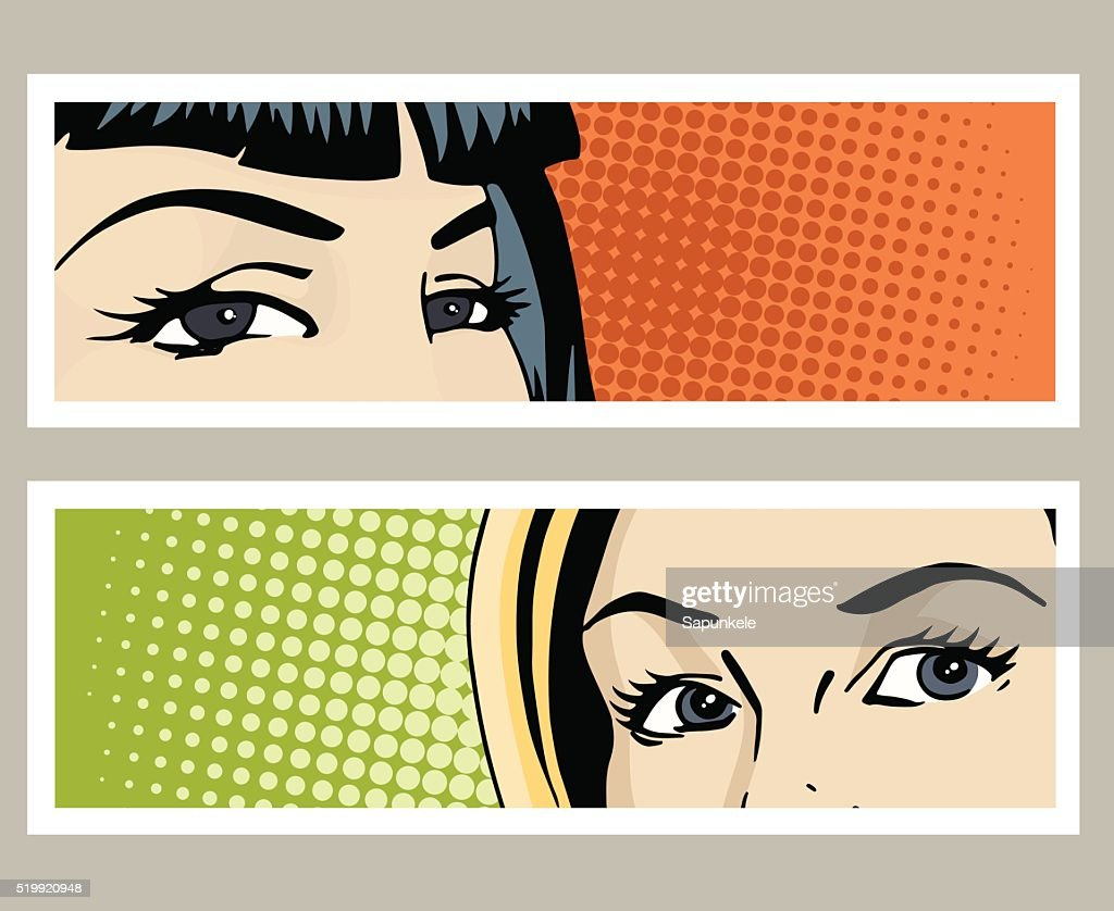 Pop art banner with female eyes
