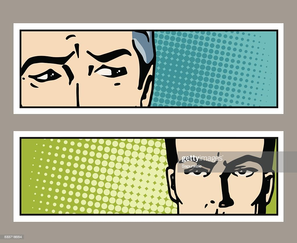 Pop art banner with male eyes and space for text.