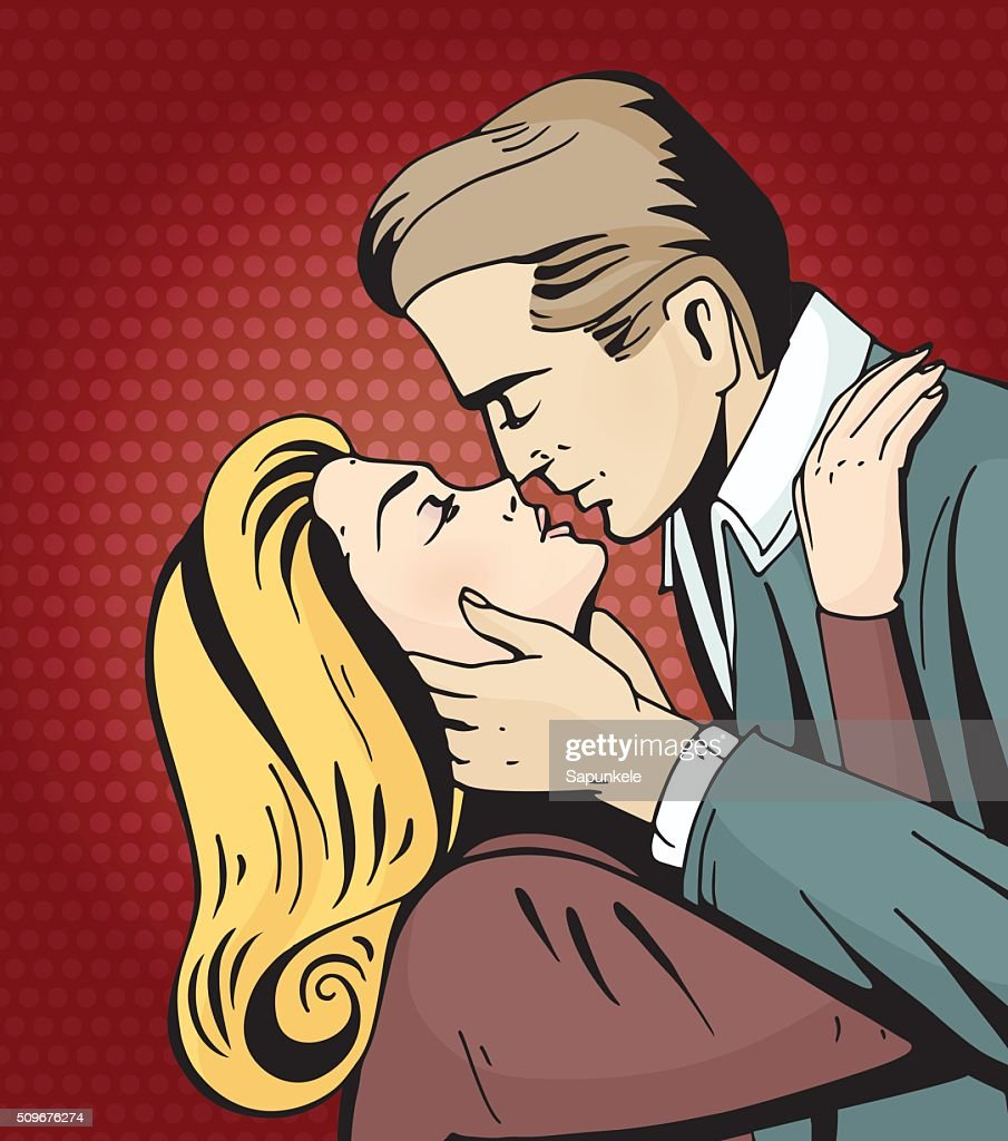 Pop art beautiful woman and man kissing.