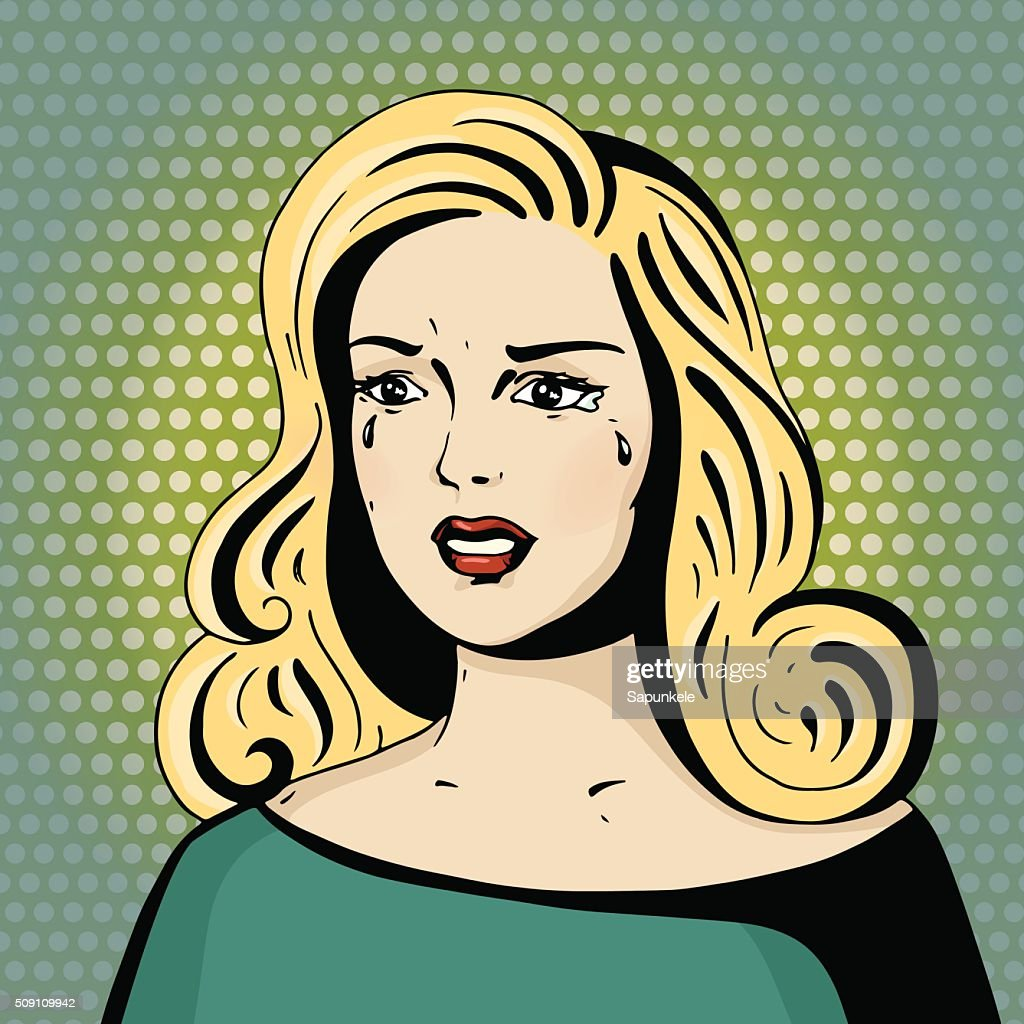 Pop art beautiful woman crying.