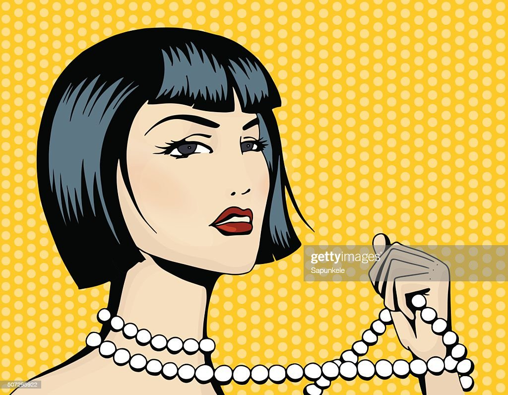 Pop art beautiful woman with a strand of beads