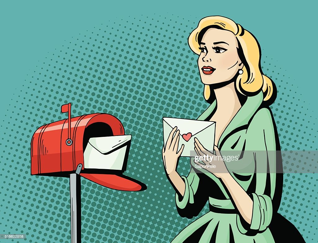 Pop art beautiful woman with love letter and mailbox