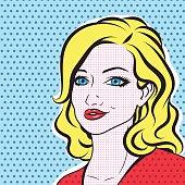 Pop art blonde woman face - retro comic vector portrait