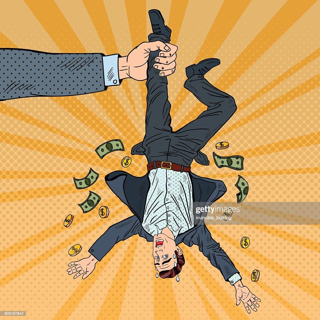 Pop Art Businessman Loosing his Last Money