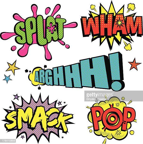 pop art cartoon noises v2 - slapping stock illustrations, clip art, cartoons, & icons