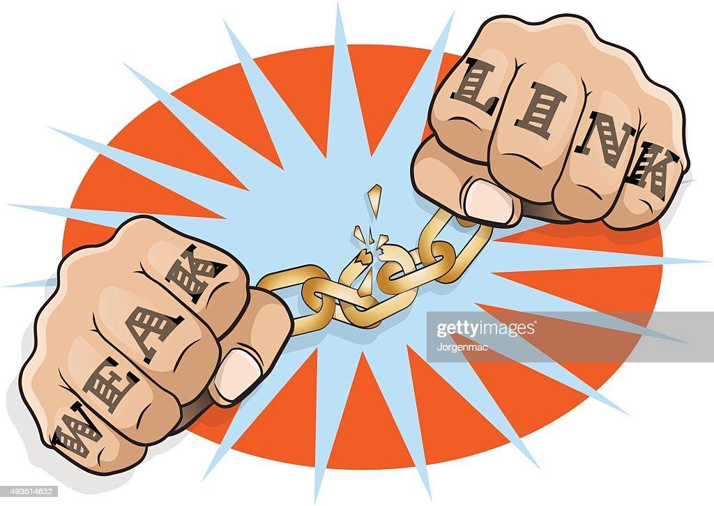 Pop Art Chained Fists Weak Link Tattoo.