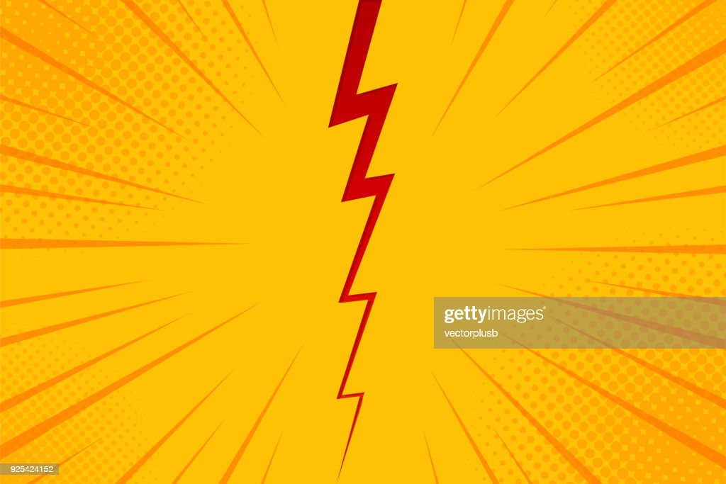 Pop art comic background lightning blast halftone dots. Cartoon Vector Illustration on yellow