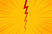 Pop art comic background lightning blast halftone dots. Cartoon Vector Illustration on yellow