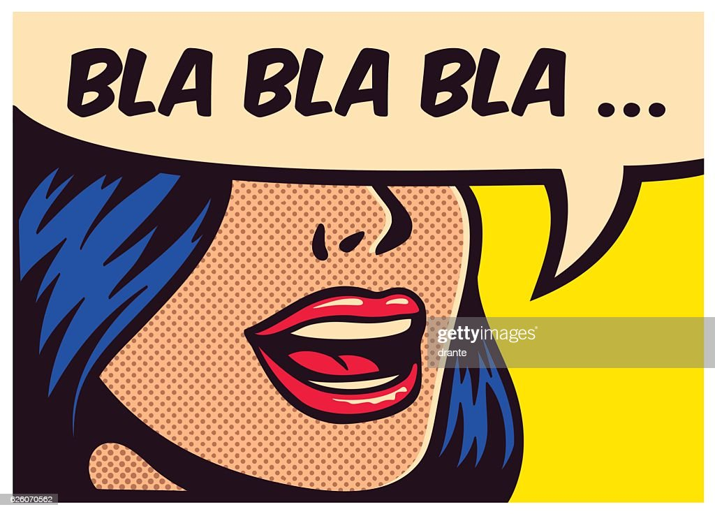 Pop art comic book girl talking non-sense gossip vector illustration