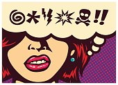 Pop art comic book panel with angry woman grinding teeth and speech bubble with swear word symbols vector