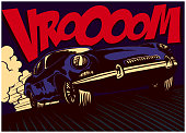 Pop art comic book style fast car at full speed vector illustration
