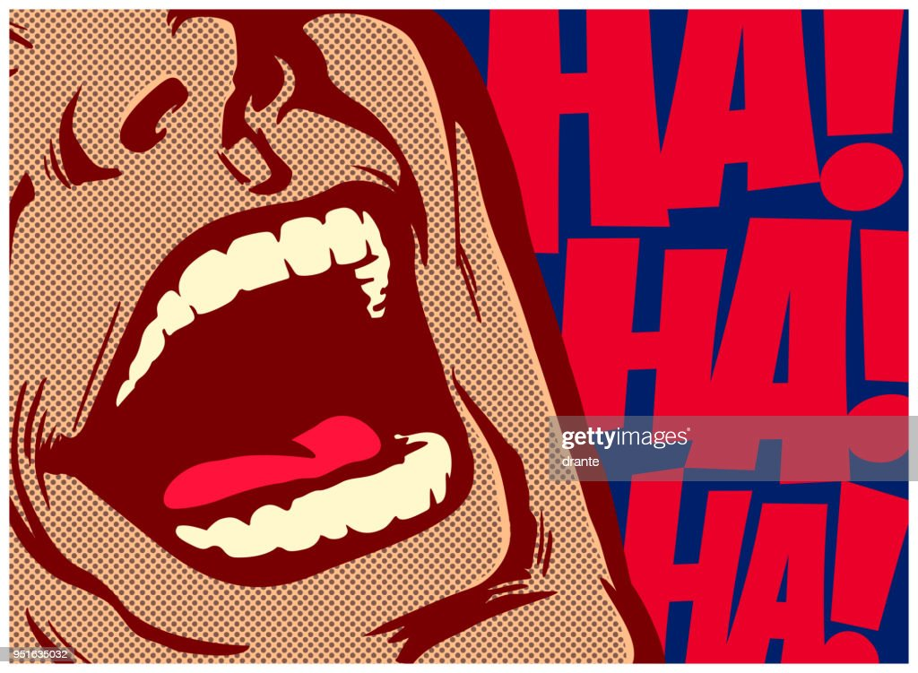Pop art comic book style mouth of man laughing out loud vector illustration