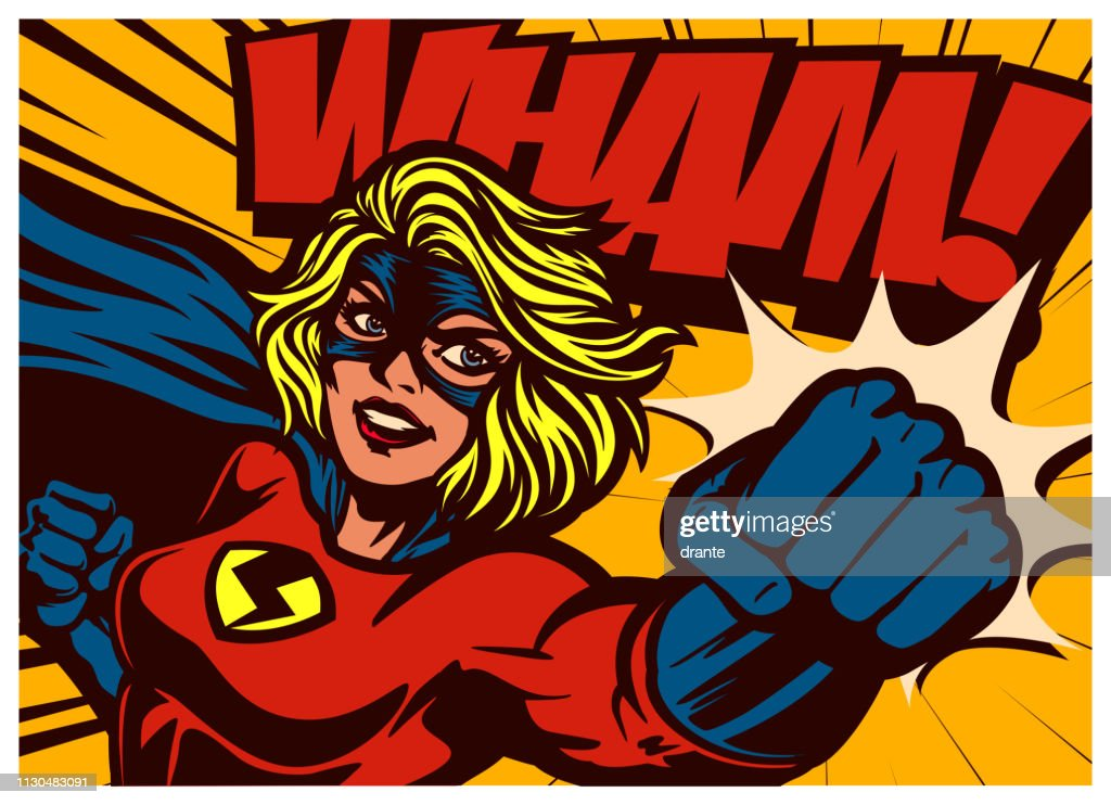 Pop art comic book style superheroine punching female superhero vector illustration : stock illustration