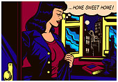 Pop art comic book style woman coming home after work to her flat vector illustration