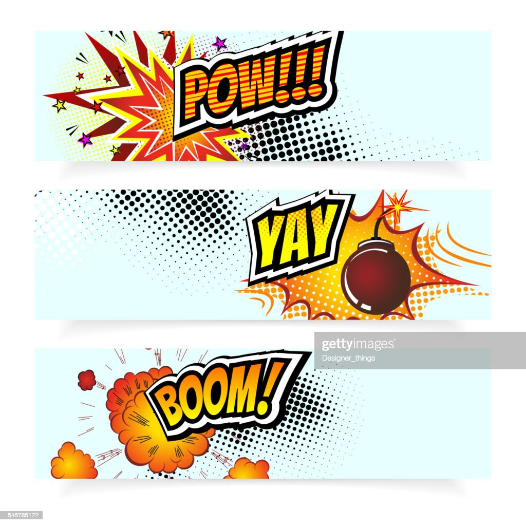 Pop Art Comic Book Vector Illustration.   Design Elements. Explosion Bomb