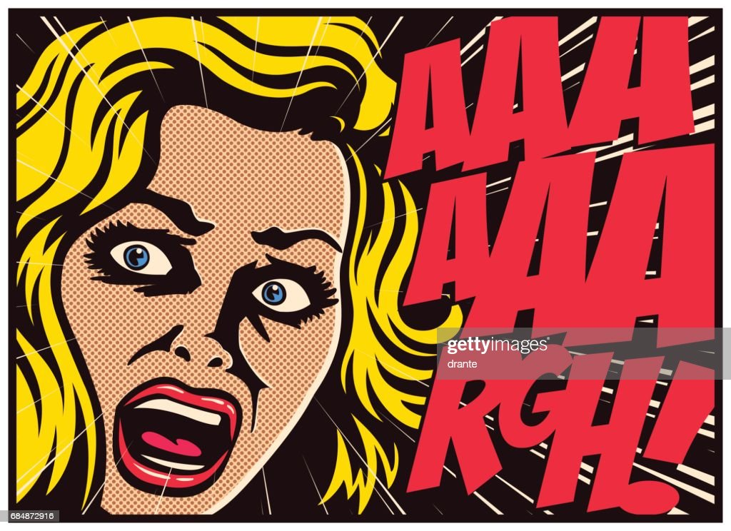 Pop art comics panel woman in a panic screaming in fear vector illustration