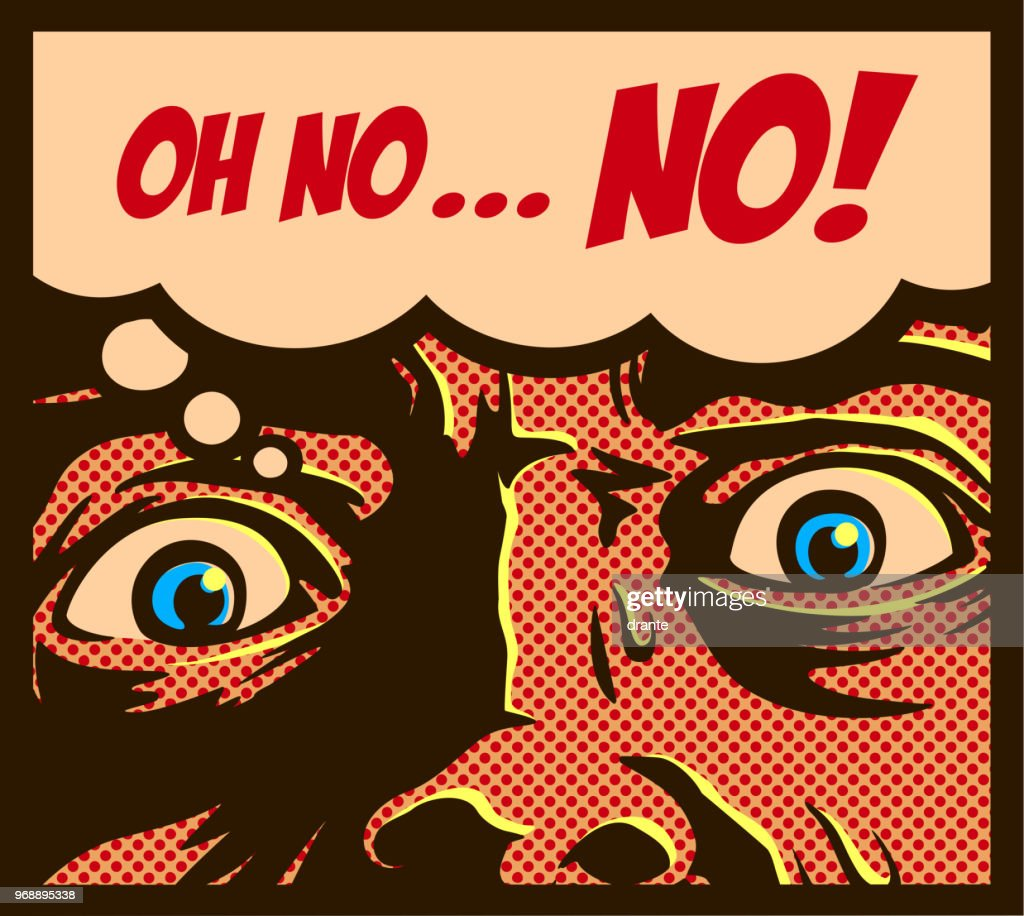 Pop art comics style man in a panic with terrified eyes staring at something dreadful vector illustration