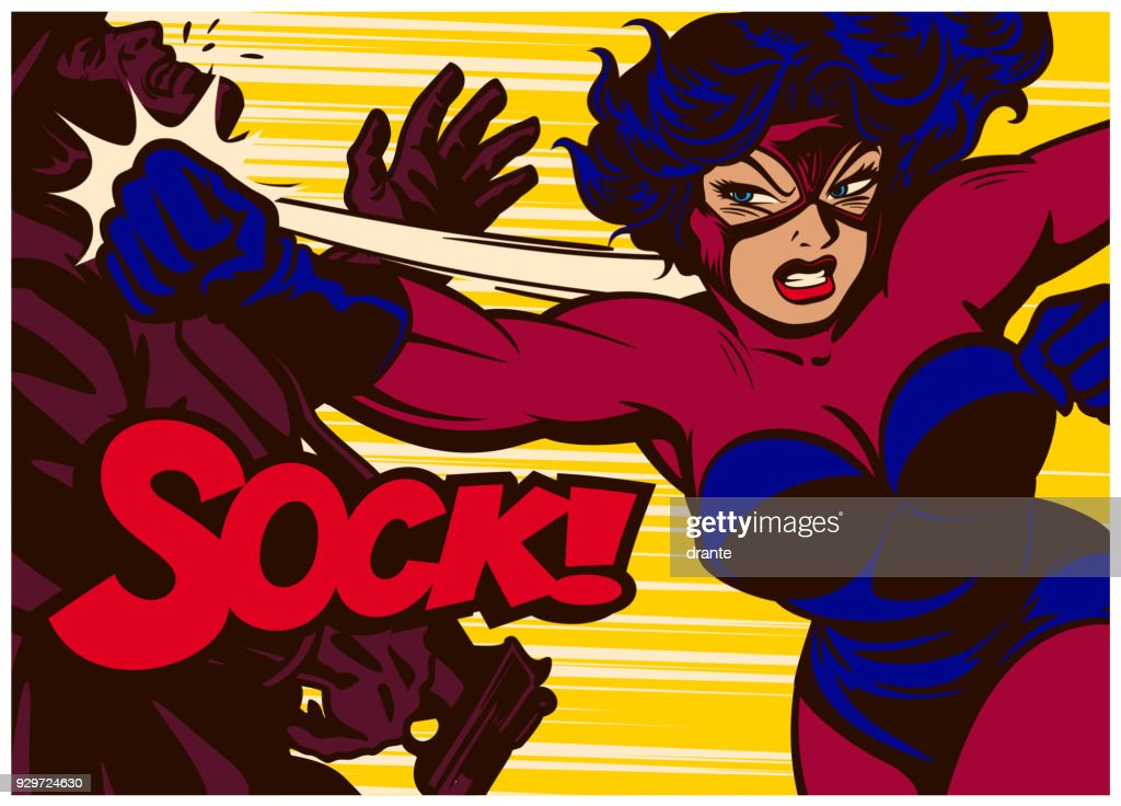 Pop art comics style super heroine fighting and punching supervillain vector illustration