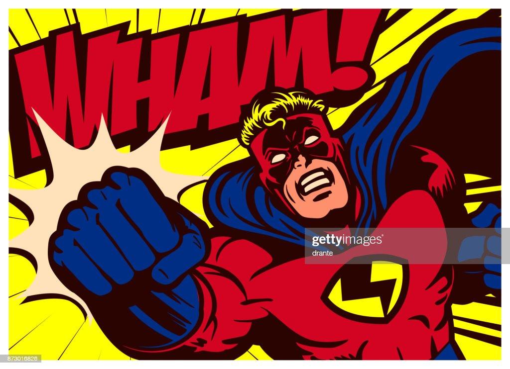 Pop art comics superhero throwing punch vector illustration