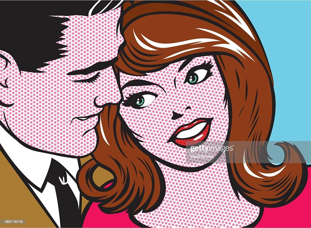 pop art couple : stock illustration