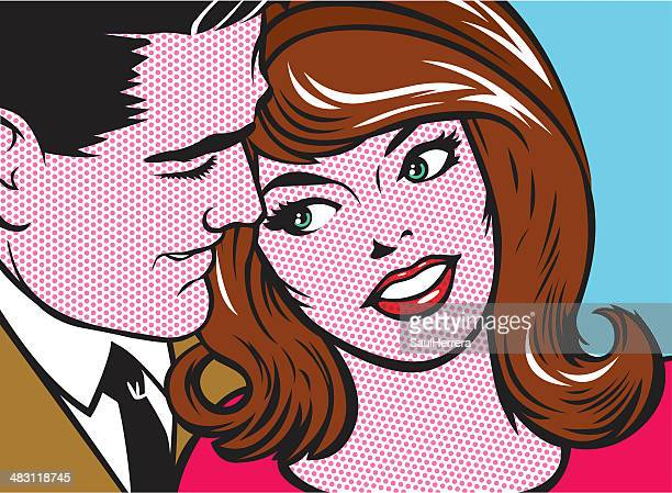 pop art couple - flirting stock illustrations, clip art, cartoons, & icons