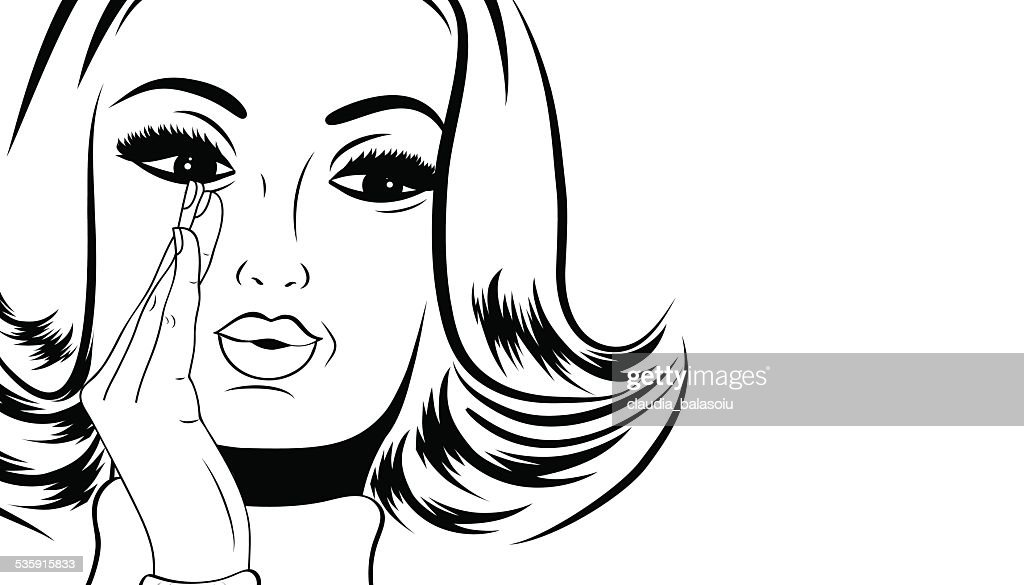pop art cute retro woman in comics style with message : Vector Art
