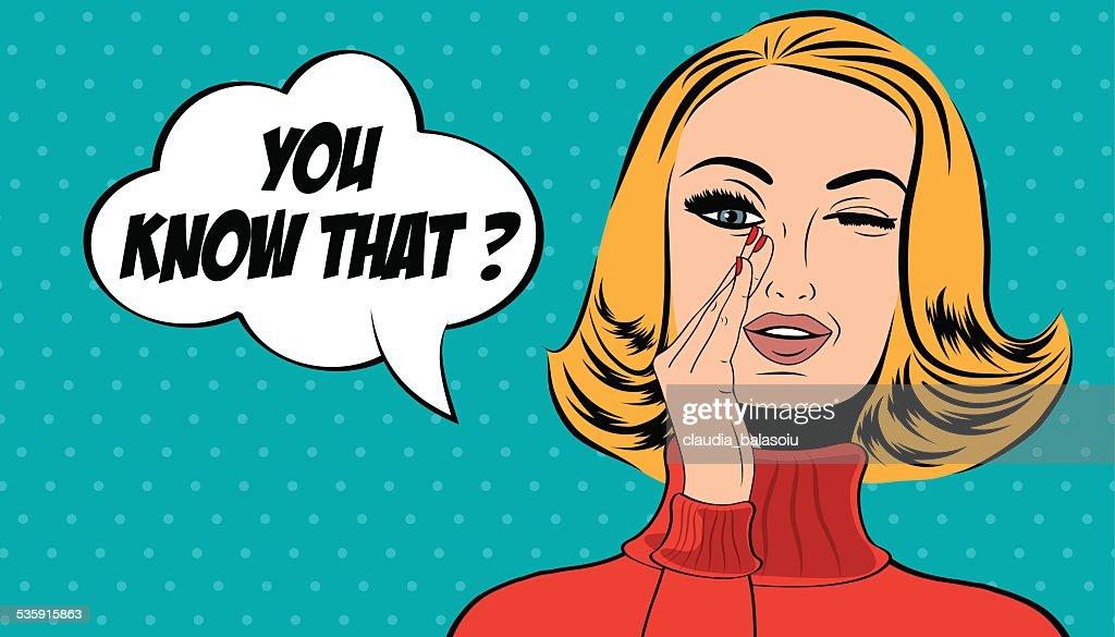 Arte pop linda mujer en cómics de los estilo retro con mensaje : Arte vectorial