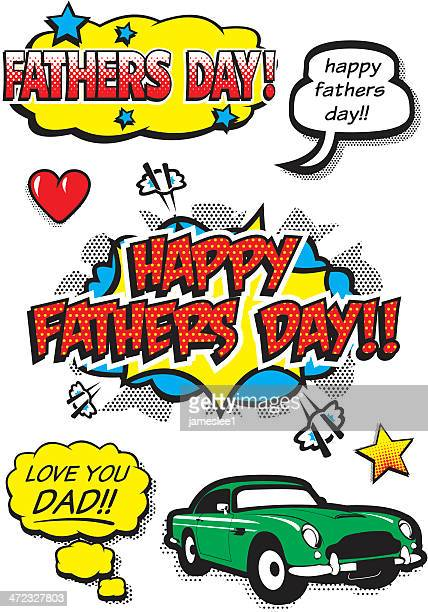 pop art fathers day elements - fathers day stock illustrations
