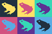 Pop art Frog icon isolated on color background. Animal symbol. Vector