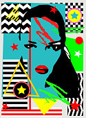 Pop art geometric abstract background with a girl silhouette