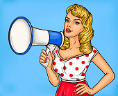 Pop art girl with megaphone