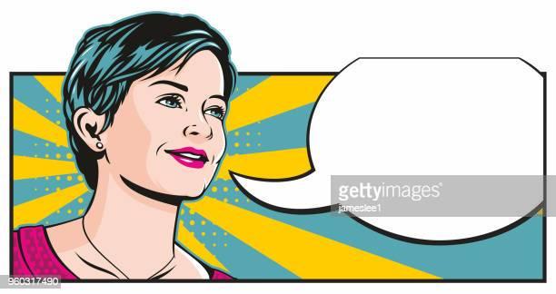 吹き出しとポップアートの女の子 - ショートヘア点のイラスト素材/クリップアート素材/マンガ素材/アイコン素材