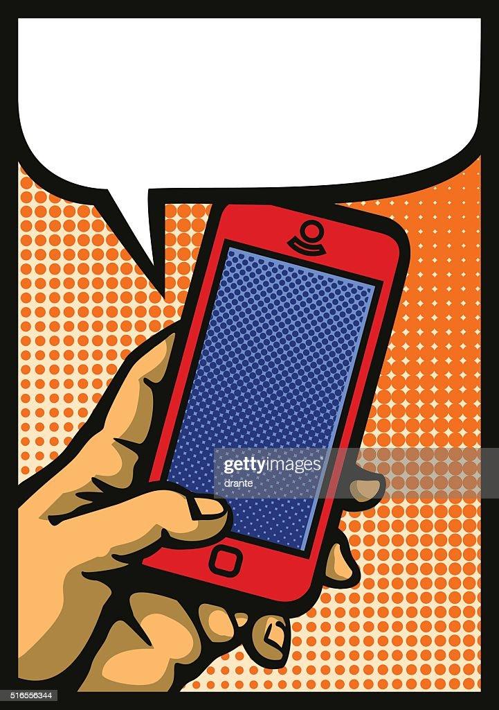 Pop art hand holding smartphone comic book style vector illustration