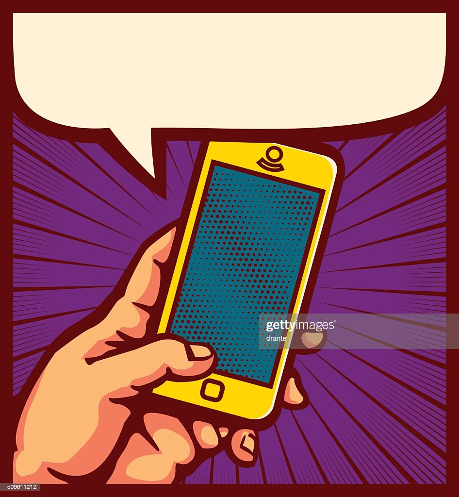 Pop art hand using smartphone comic book vector illustration