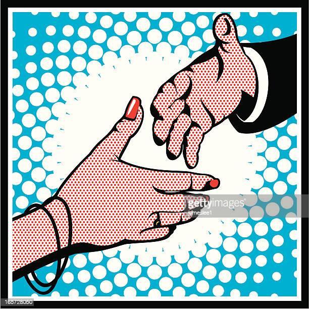 pop art hände schütteln - hände schütteln stock-grafiken, -clipart, -cartoons und -symbole