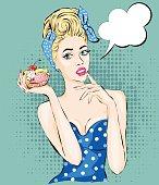 Pop Art illustration woman with sweet cake.