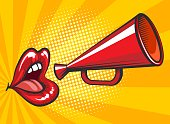 Pop art loudspeaker and lips poster