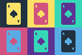 Pop art Playing card with spades symbol icon isolated on color background. Casino gambling. Vector Illustration
