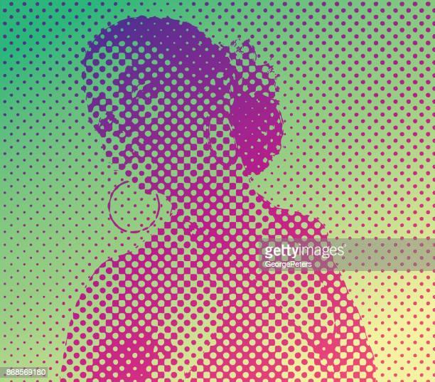 pop art retro style portrait of a mixed race woman salsa dancing - salsa music stock illustrations, clip art, cartoons, & icons