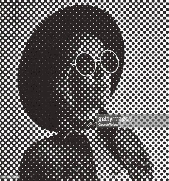 Pop Art retro style portrait of woman with silkscreen half tone dot pattern